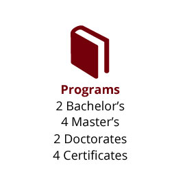 Infographic: Programs: 2 Bachelor's, 4 Master's, 2 Doctorates, 4 Certificates